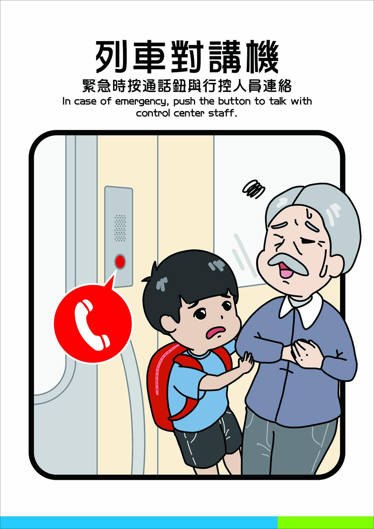列車對講機,緊急時按鈕與工作人員連絡